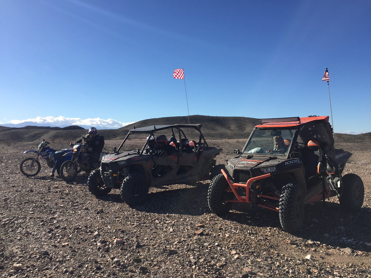 Two motorcycles and two ATV's ready to roll at Glamis North Hot Springs Resort