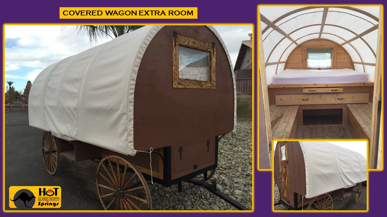 Picture of our Covered Wagon -Extra Room- with bed and storage space