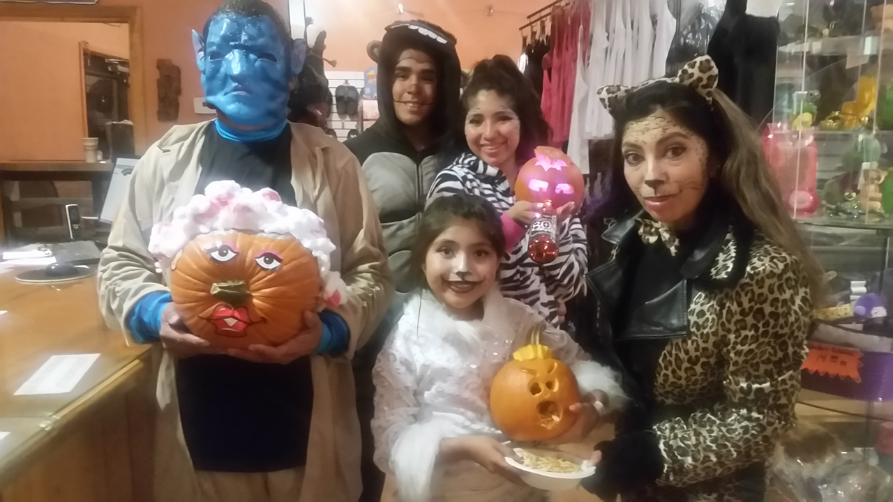 A picture of Halloween celebrants at Glamis North