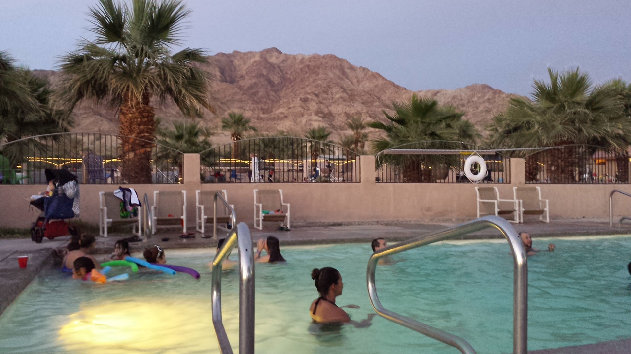 A picture of family fun at the pools at Glamis North Hot Springs Resort