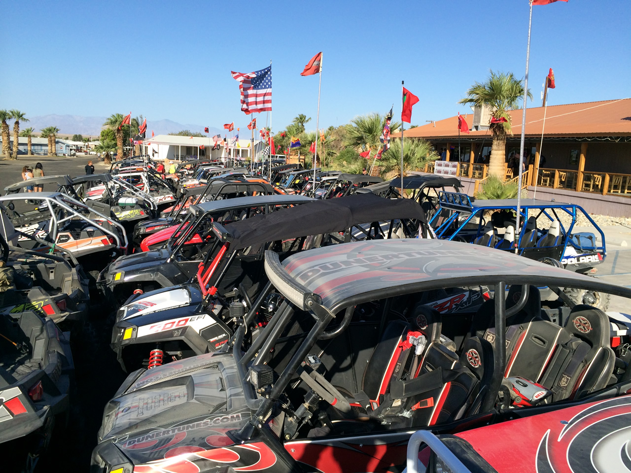 ATVs lined up at the annual RZR Forum at Glamis North