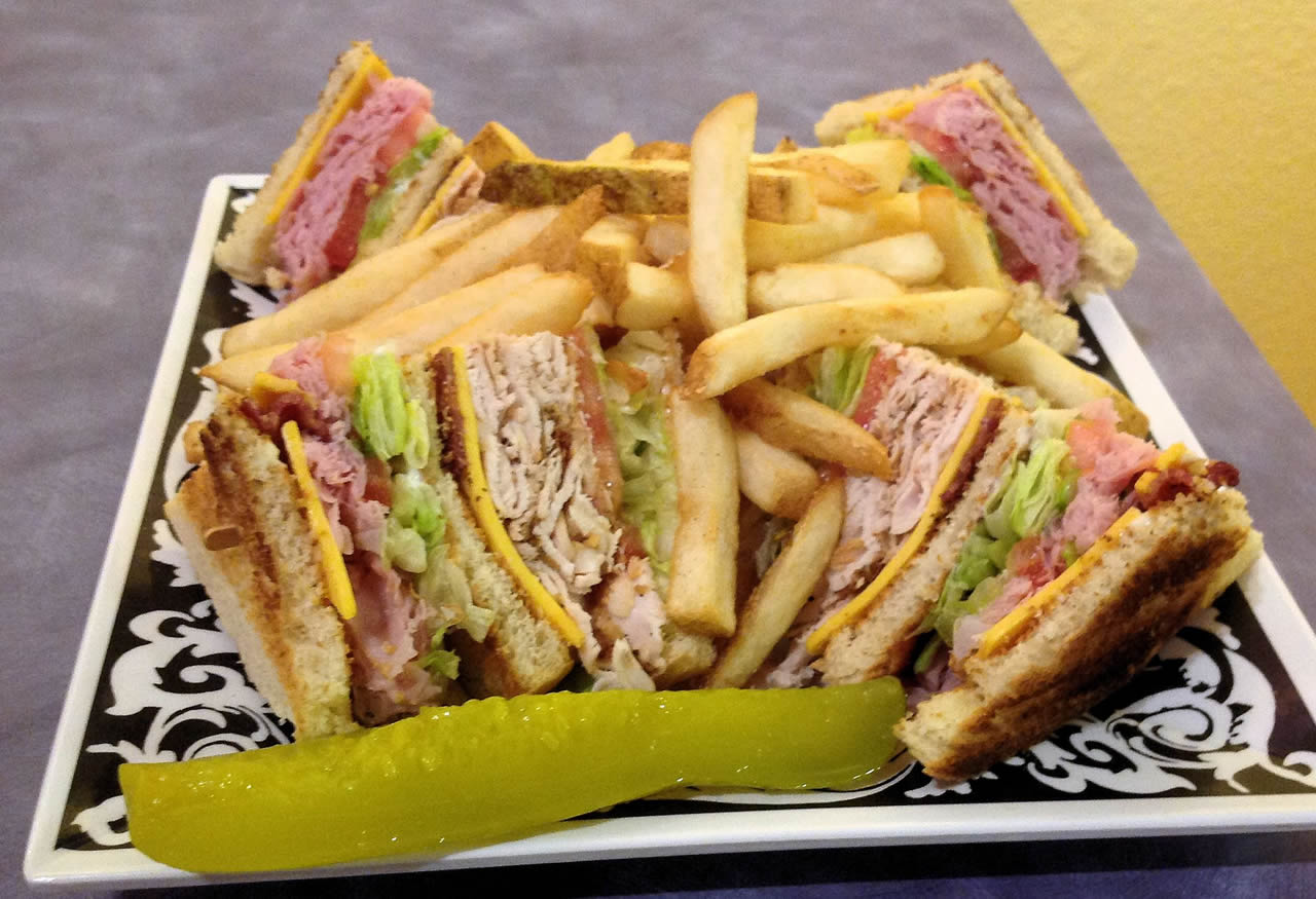 A picture of our excellent club sandwich at Sassy's Restaurant, Glamis North Hot Springs Resort