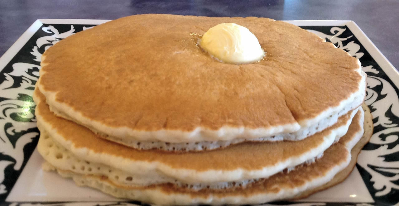 Picture of our Pancakes at Sassy's Restaurant, Glamis North Hot Springs Resort